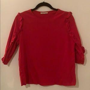 Zara 3/4 sleeve shirt with ruffle detail